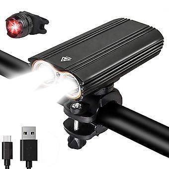 SanLion sykkellys, oppladbart kraftig USB LED-sykkellys, multibelysningsmodus, støtsikker vanntett IP65 (svart)