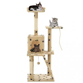 Chunhelife Cat Tree With Sisal Scratching Posts 120 Cm Beige Paw Prints