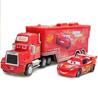 Carros Caminhão de Carga 95 Mack Iluminação Mcqueen Carro de Corrida Diecast Carros de Lupa Modelo Brinquedo Presente Infantil