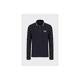 Emporio Armani EA7 Cotton Printed Logo Navy Long Sleeve Polo Shirt