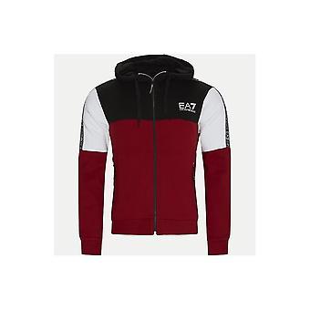 Emporio Armani EA7 Hooded Full Zip Tape Logo Black/white/red Cotton Tracksuit