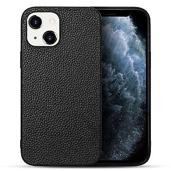 Para iPhone 13 Funda Cuero genuino Durable Slim Fit Cubierta protectora Negro