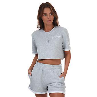 Women's Gym King Button Crop T-Shirt in Grey