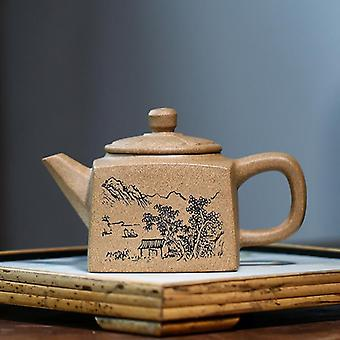 Authentic Yixing Tea Pot Hand Carved Purple Clay Teapot Raw Ore Beauty Kettle Chinese Tea Ceremony
