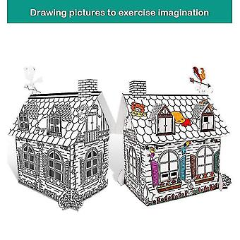 Wooden blocks assembled house 3d puzzle cardboard model toys