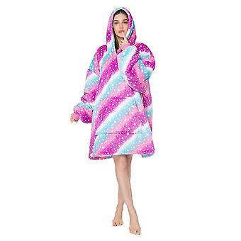 Homemiyn Frauen Sternenhimmel Wellen Kapuzenrobe Pyjamas Casual Loose Large Pocket Nachthemden