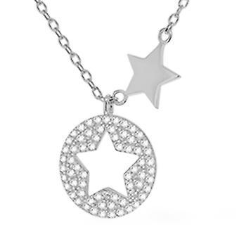 """Silber Stern Scheibe Halskette für Frauen Shinny Sterling gestempelt Schmuck Größe 18"""""""