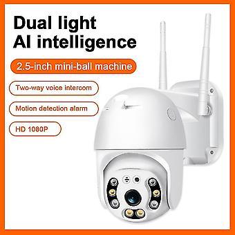Wifi-kamera 1080p h.265 us/eu langaton mini webcam audio ir dual light motion hälytys pilvitallennustila