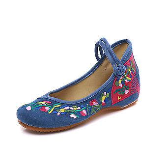 Women's Chinese Vintage Ethnic Embroidery Low Heel Flat Elevator Cheongsam Dress Shoes Small Fan