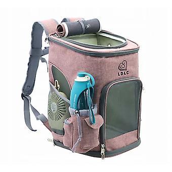 Draagbare huisdier draagbare rugzak + water tumblelet, met opvouwbare anti-virus net, konijn, hond, kat, wandelen, reizen, kamperen, katoenen rugzak voor buiten