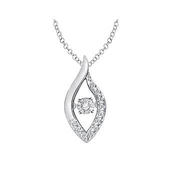 Glittering Stars Dancing Diamond Pendant Necklace in Sterling Silver with chain