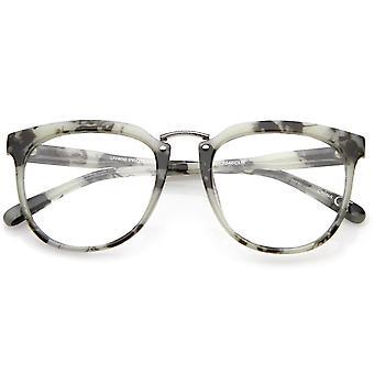Classic Metal place du pont plat de lentille claire corne Rimmed lunettes 55mm
