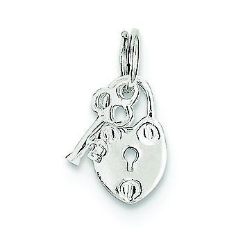 925 sterling sølv solid poleret lås og nøgle charme-. 7 gram
