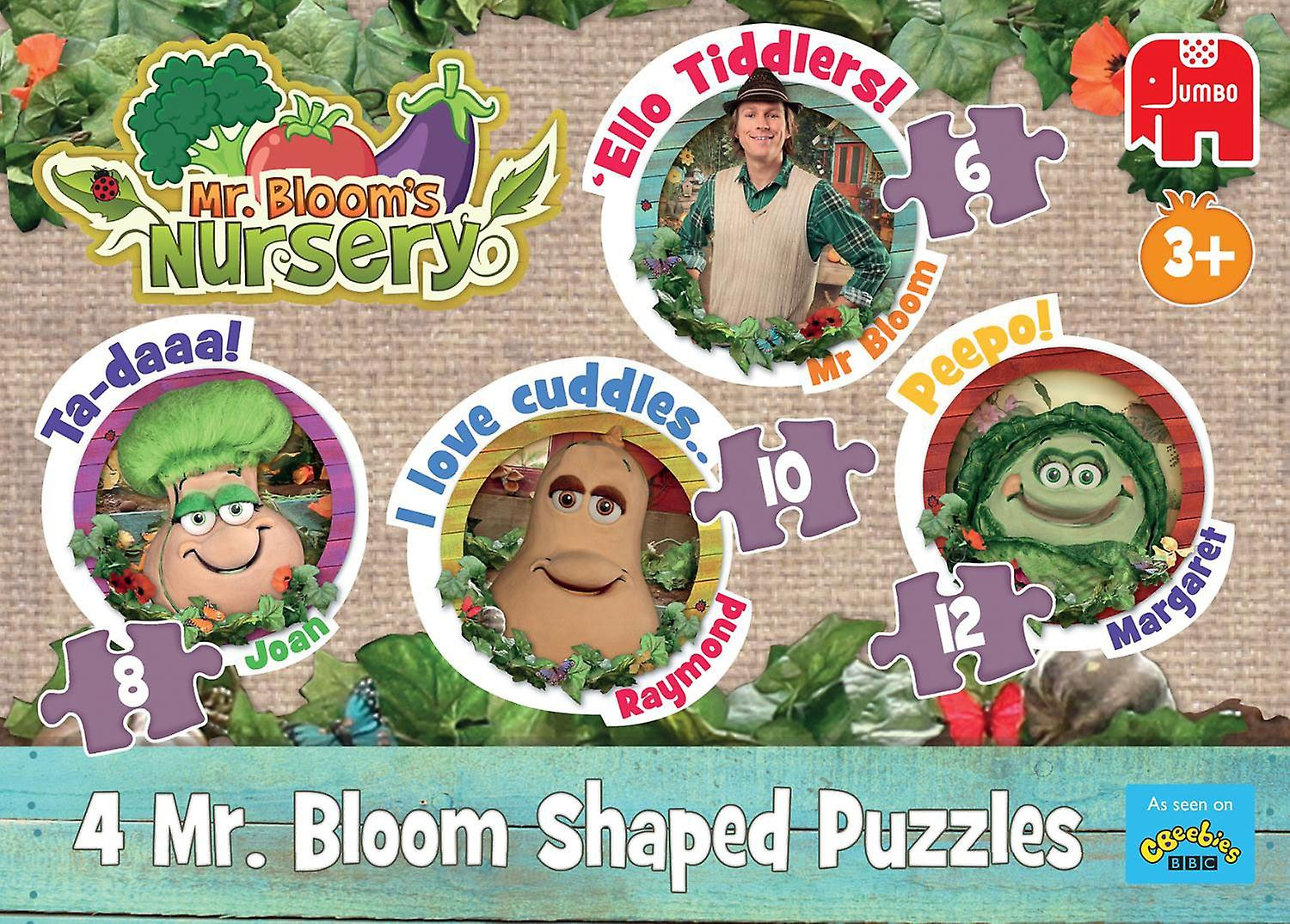 Jumbo Mr Bloom's Nursery 4-In-1 Shaped Puzzles (6 - 12 Pieces)