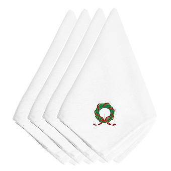 Carolines Treasures  EMBT2109NPKE Christmas Wreath Embroidered Napkins Set of 4