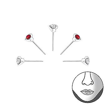 Corazón - espárragos de nariz de plata esterlina 925 - W33344X
