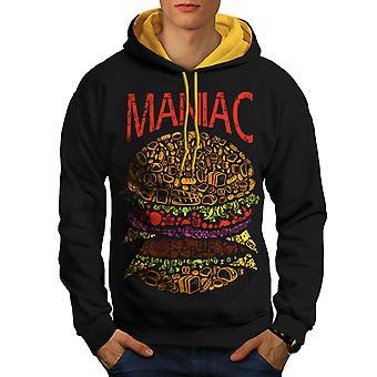 Burger Junk Fast Food Men Black (Gold Hood)Contrast Hoodie | Wellcoda