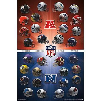 NFL - hjälmar 16 affisch Skriv