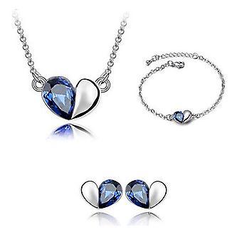 قلب الحب مصمم الأزرق الداكن المجوهرات تحت عنوان قلادة سوار وأقراط مجموعة