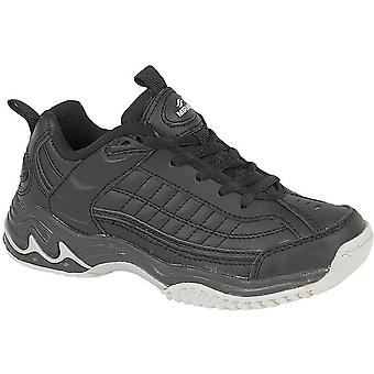 Mirak Boys Contender Lace Up Padded Leather Sports Trainer Black