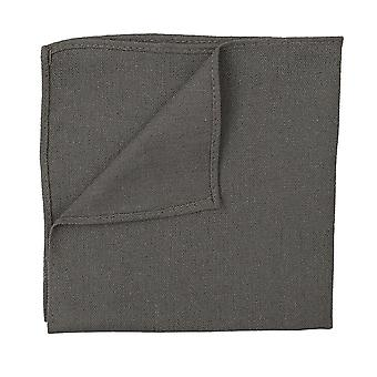Dark Olive Hopsack Linen Pocket Square