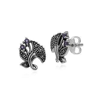 Art Nouveau Style Round Amethyst Leaf Stud Earrings in 925 Sterling Silver 214E860502925