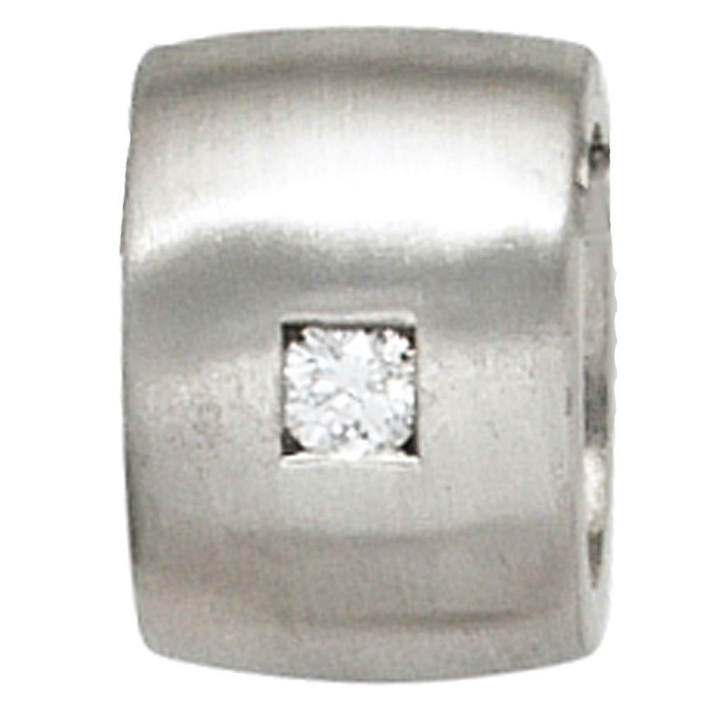 Anhänger 925 Sterling Silber rhodiniert mattiert 1 Diamant Brillant 0,05ct.