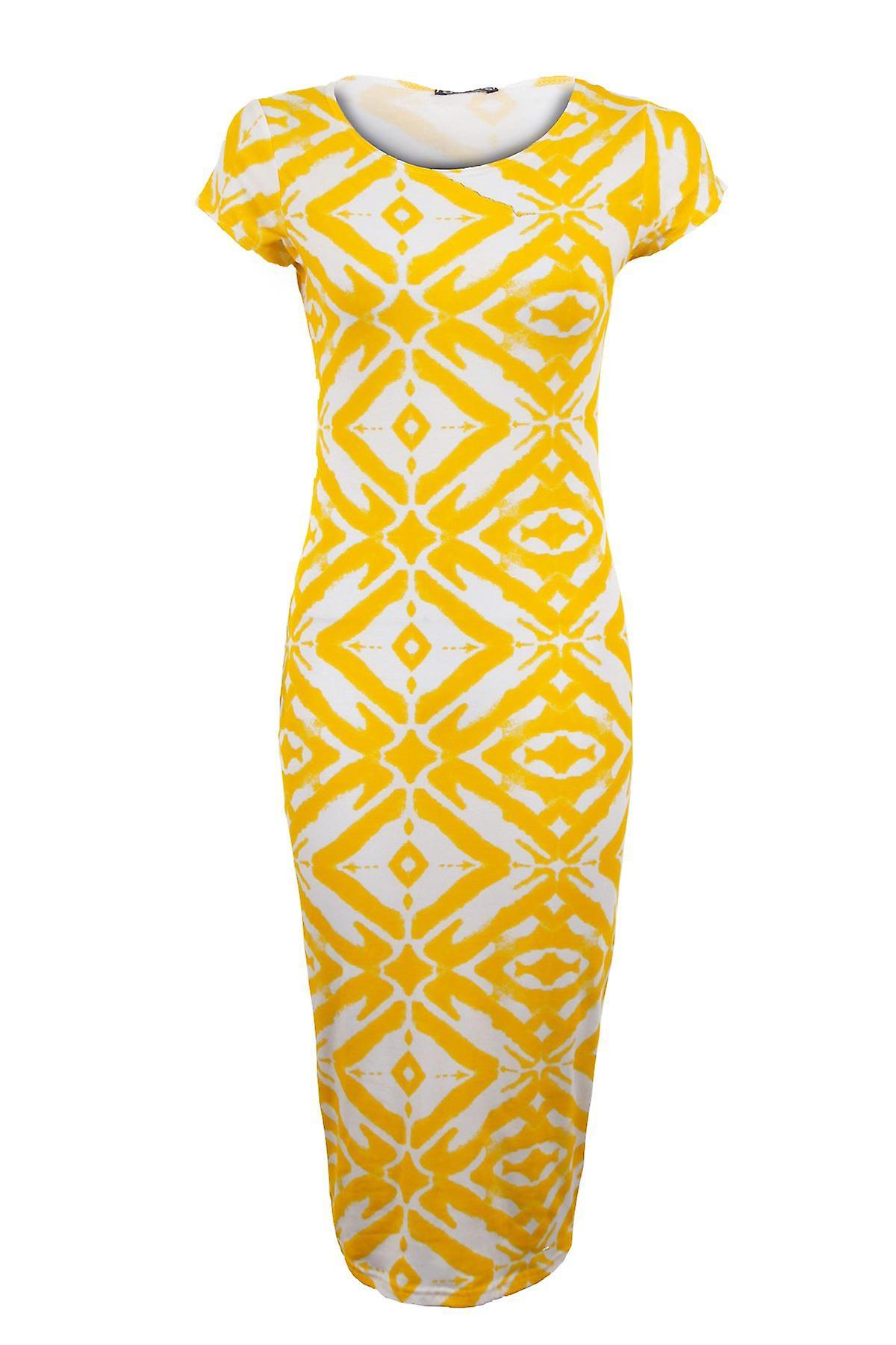 New Ladies Cap Sleeve Tribal Snake Print Midi Women's Bodycon Dress AOSMiP
