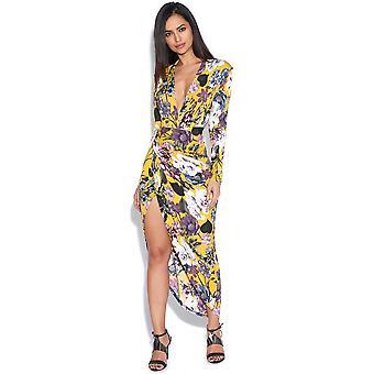 Mustard Floral Print Kim Plunge Dress