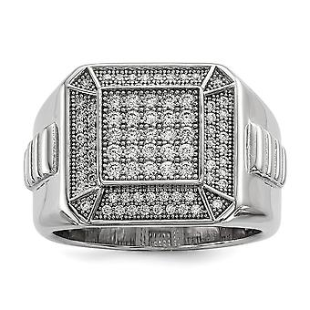 925 Sterling Silver Pave Rhodium plated and CZ Cubic Zirconia Simulated Diamond Polished Mens Ring Jewelry Gifts for Men