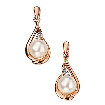 Elementen gouden Pearl en Diamond Drop Earrings - Rose goud/wit