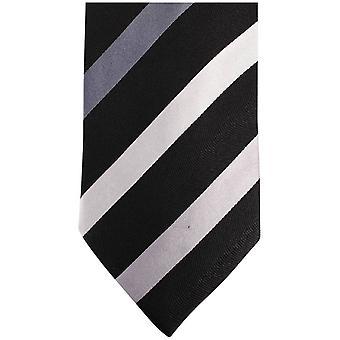 Найтсбридж Neckwear Kensington Диагональ полосатый шелковый галстук - черный/серый