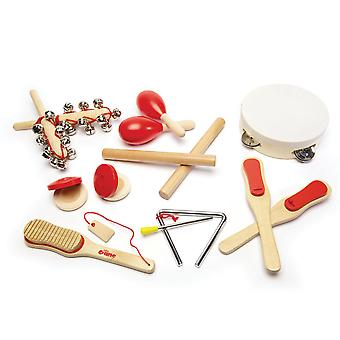 Tidlo Wooden Children's Musical Instruments Set (14 Piece) Kids Learn Play
