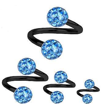 Torsione a spirale Piercing titanio nero 1, 6mm, Multi cristallo sfera blu chiaro | 8-12