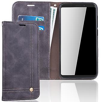 Mobiltelefon täcker fallet för WIKO Visa XL cover Wallet case grå