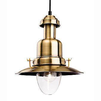 Firstlight Classic fiskare taklampa i antik mässing och klart glas