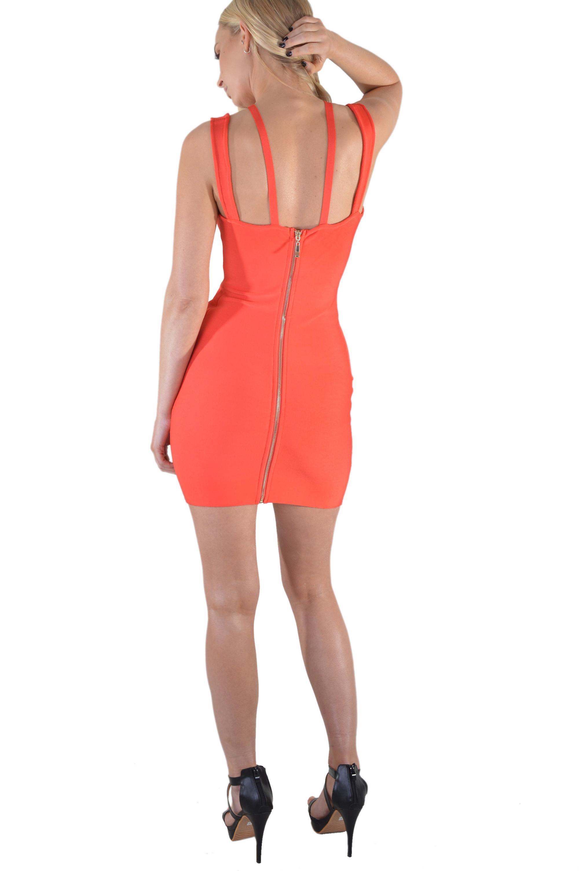 Lovemystyle Peplum Bandage Dress In Red
