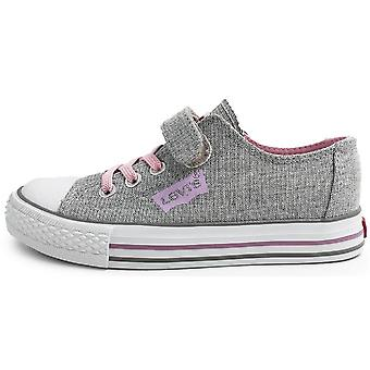 Levis Girls Trucker Elastic Low Canvas Shoes Silver Pink