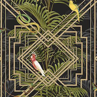 Birds Tropical Palm Trees Wallpaper Black Metallic Gold Green Congo Holden Decor