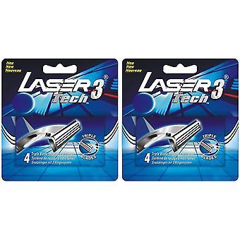 8x Laser Tech3 Tripple Blade Razor Blade cardridges - 1 poignée, Fits with Gillette Sensor 3 razor handle