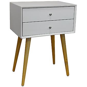 Unie - hoogglans en solide houten Side Table / nachtkastje met 2 laden - wit / Pine