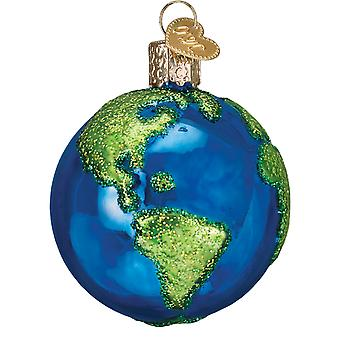 Old World Christmas Planet Earth World Globe Holiday Ornament Glass