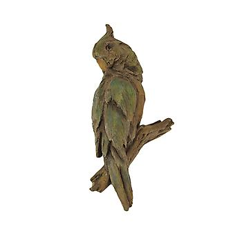 Green and Brown Carved Old Wood Look Parrot Wall Sculpture