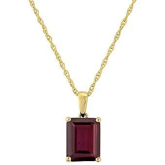 Mark Milton Garnet Square Pendant - Deep Red/Gold