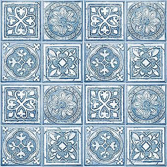 Mosaic Tile Moroccan Wallpaper Squares Tiling White Blue Paste The Wall Vinyl