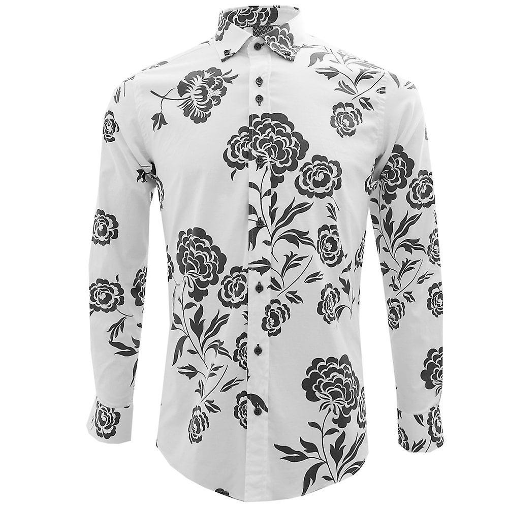 Guide London Floral Print ren bomull menns lang ermet hvit