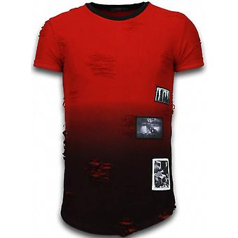 Pictured Flare Effect T-shirt - Long Fit -Shirt Dual Colored - Red