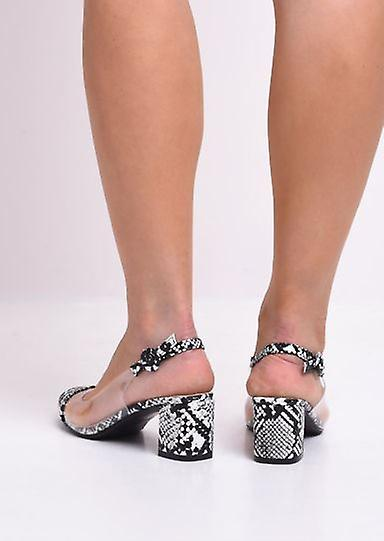 Snakeskin Print Slingback Perspex Court Block Heeled Sandals Multi