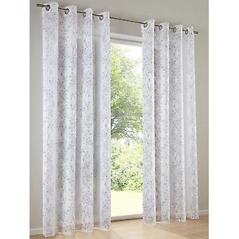 Heine Home Set (2) printed semi-transparent decostore curtain white/taupe with eyelets