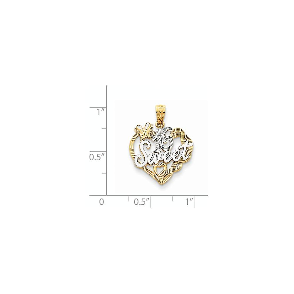 14k Yellow Gold Polished and Rhodium Sweet 16 Pendant Necklace Measures 23.1x18.5mm Jewelry Gifts for Women